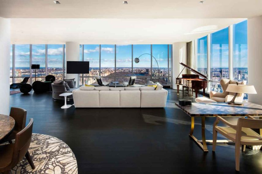 High-end apartment with view of the city. skyline