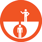 Orange circle with a figure on top of ground and another figure in a confined space.