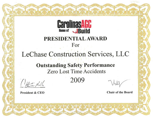 N.C. Presidential Award for Outstanding Safety Performance