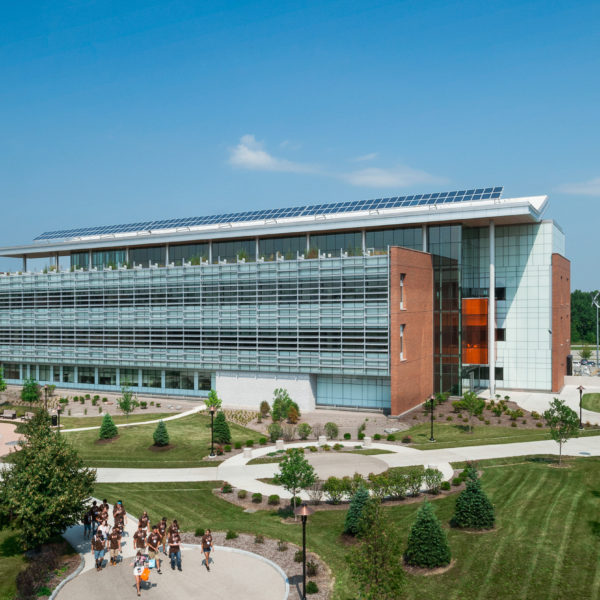 Aerial exterior of building on the RIT campus.