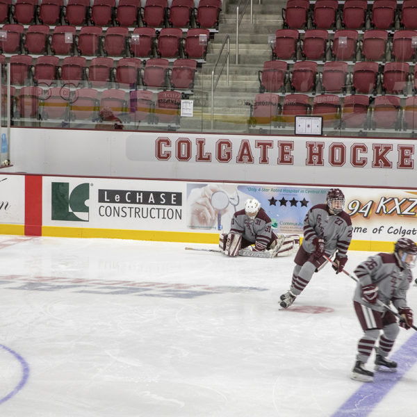 Hockey rink with players on the ice