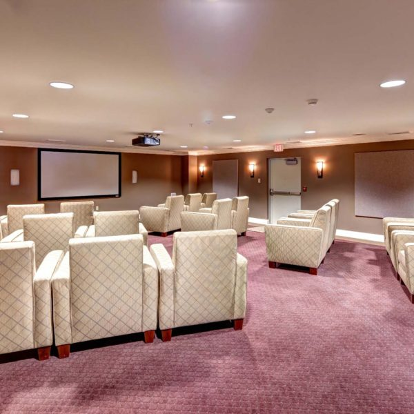 Movie room with recliners