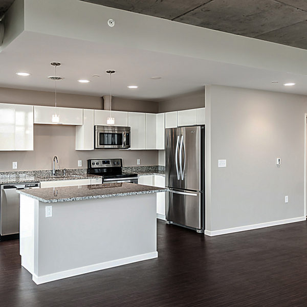 Apartment kitchen with stainless steel appliances and high-end finishes