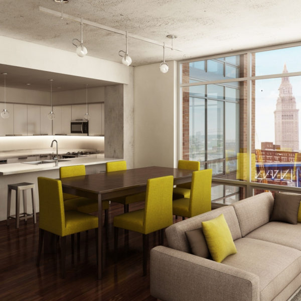 Apartment with couches, tables and chairs, kitchen and high-end finishes. City views out of the windows.