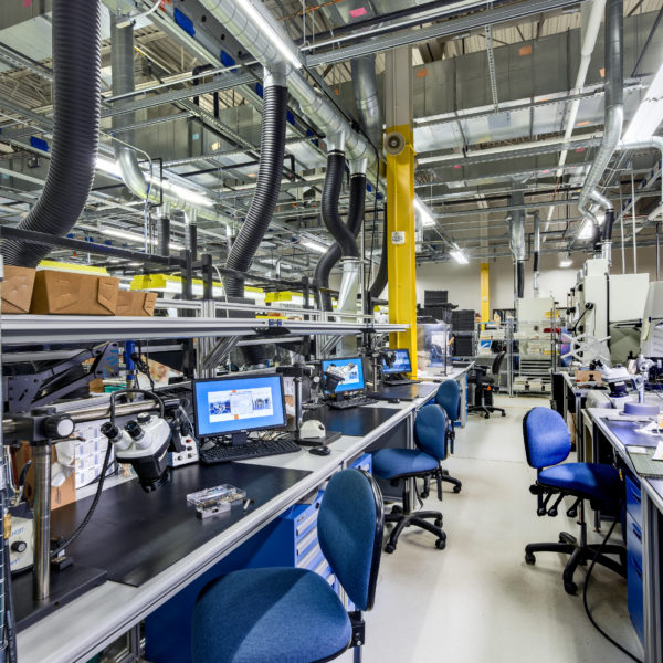 Manufacturing lab with computers, desks and chairs