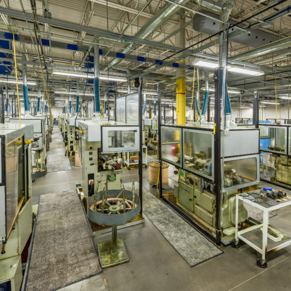 Manufacturing floor with equipment