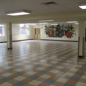 Cafeteria with red and blue checked floor
