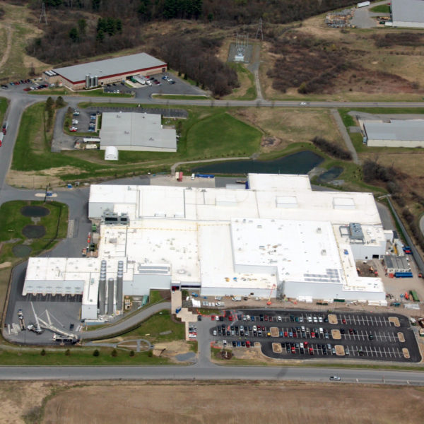 Aerial of large manufacturing facility.