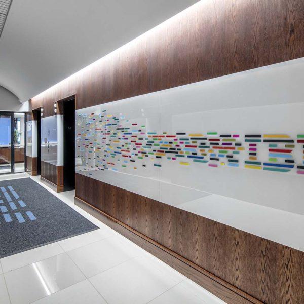 Entryway hallway with IBM signage