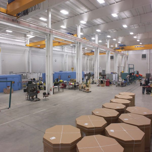 Interior manufacturing space with machinary