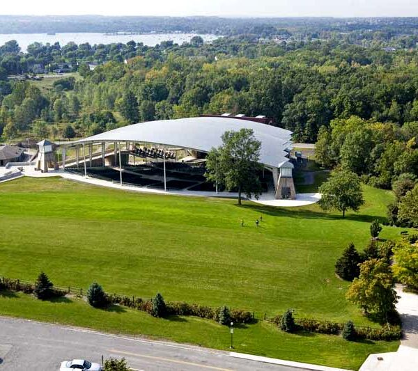 Aerial shot of the lawn and shell of performing arts center