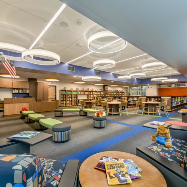Library including seating area