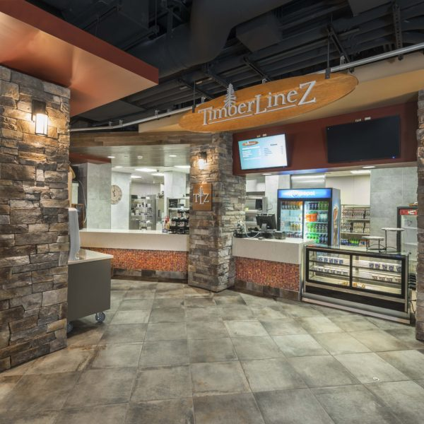 Quick service market store front with stone facade