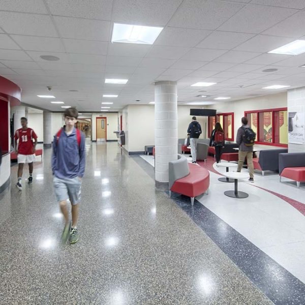 Hallways outside of auditorium with students