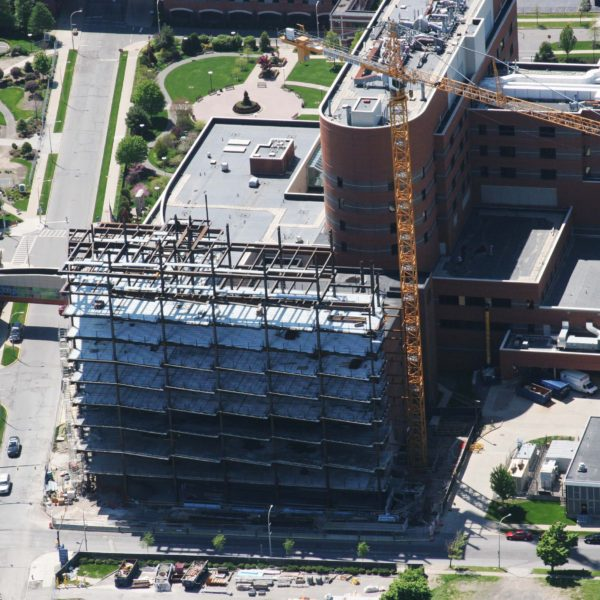 Aerial photo showing steel and tower crane