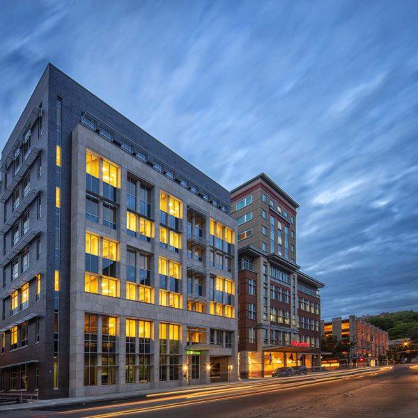 Night exterior of Tompkins Financial Headquarters