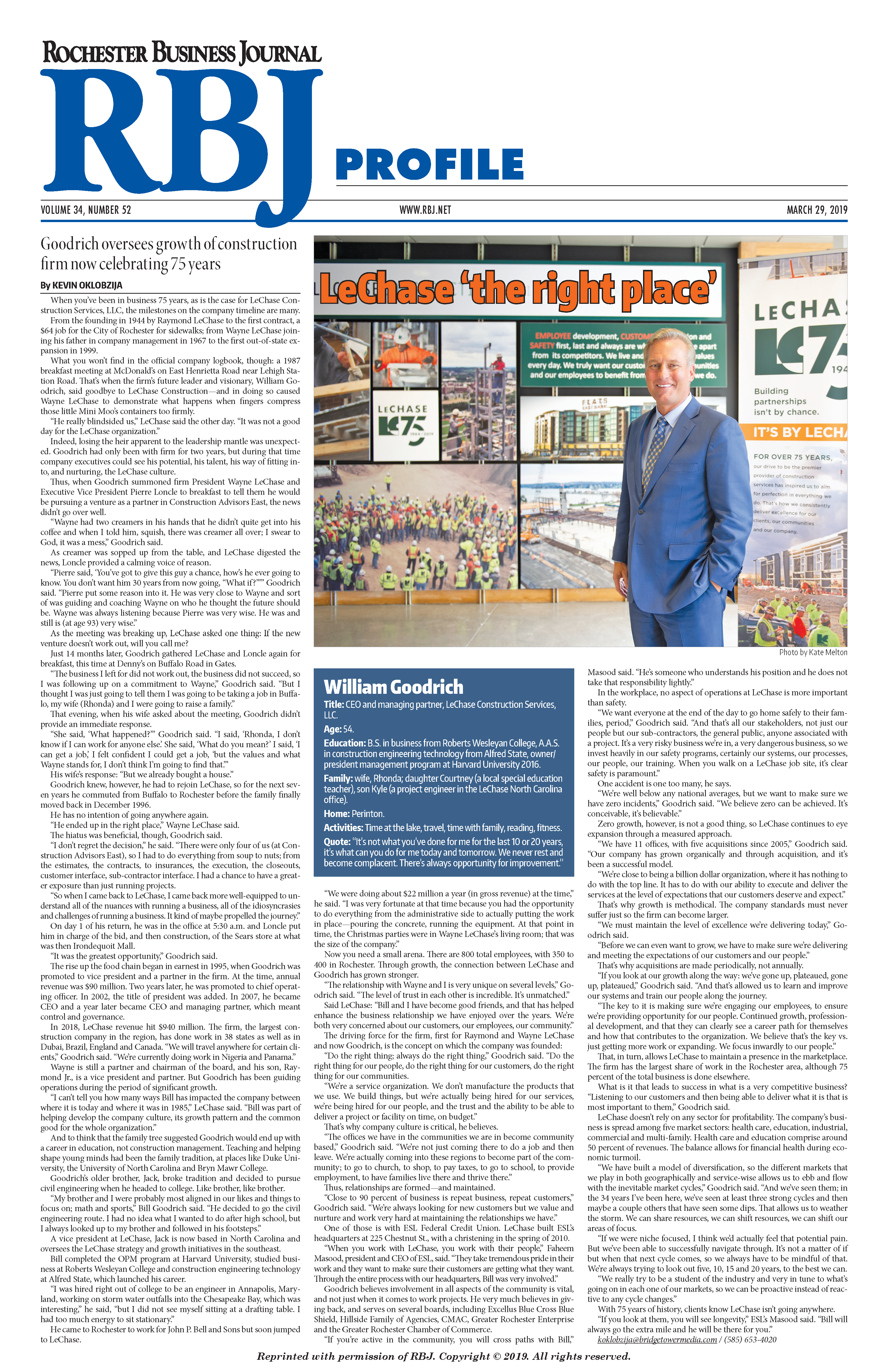 RBJ profiles LeChase CEO and Managing Partner Bill Goodrich