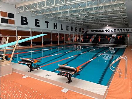 Photo of renovated pool at Bethlehem High School in Delmar, NY.