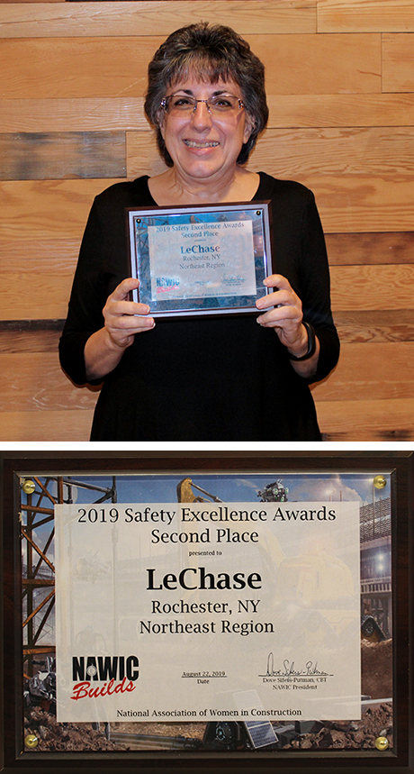 photo of Florence Indovina holding LeChase's Safety Excellence Award from NAWIC