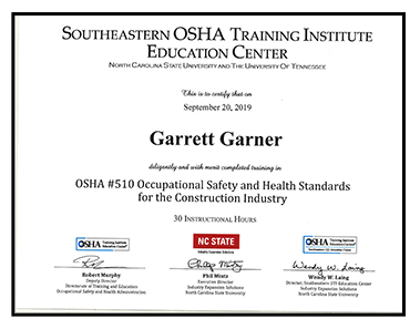 Sample of OSHA certificate earned by participants
