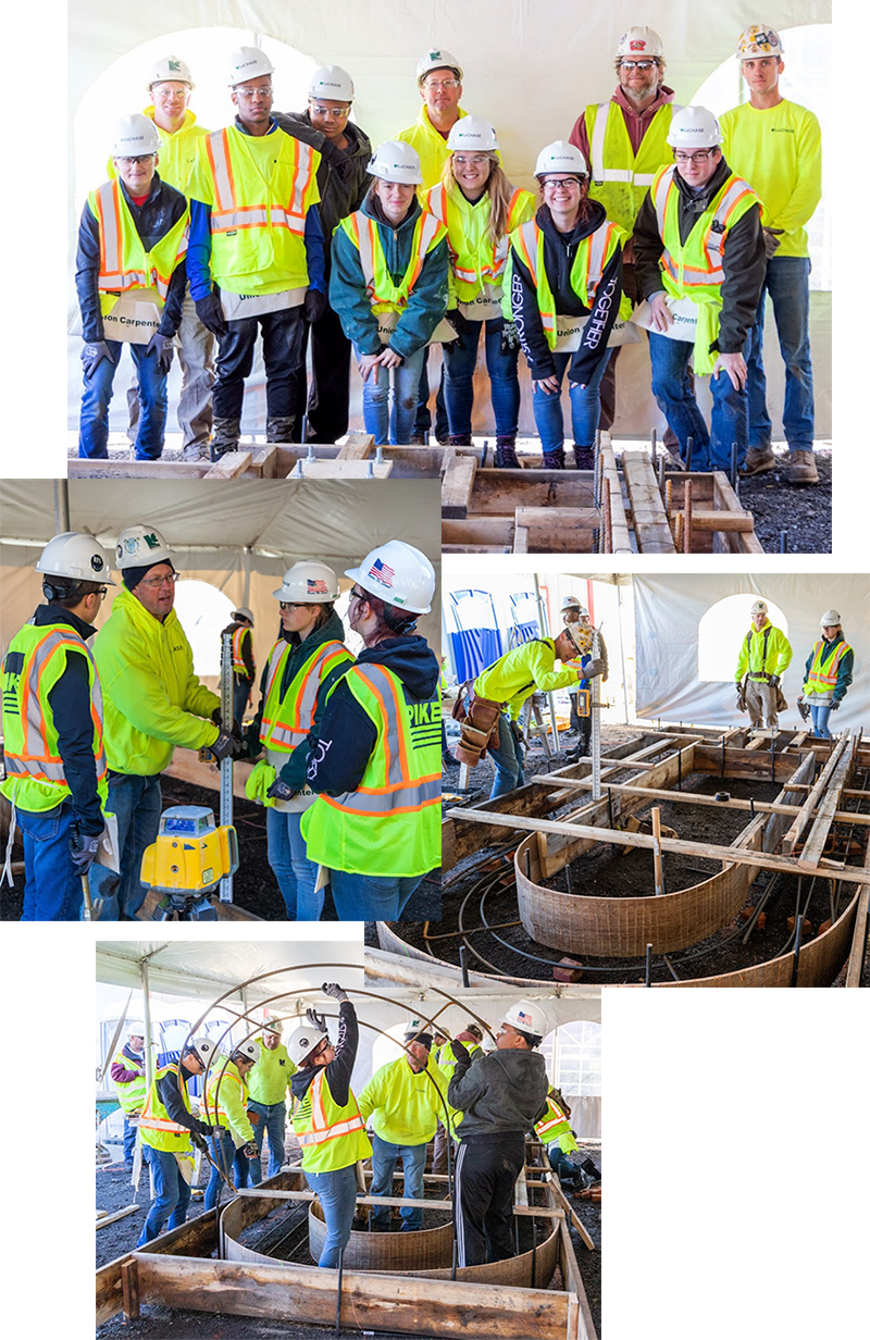 Images of the LeChase-led team at the recent concrete forming competition in Rochester.