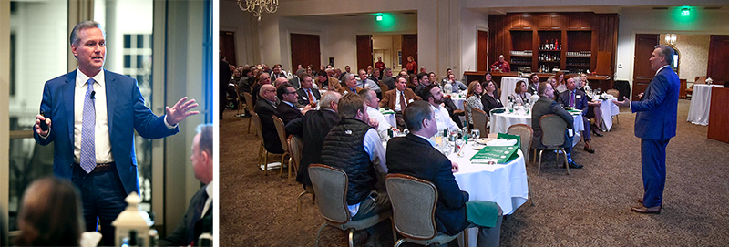 Images of Bill Goodrich speaking at CFMA CEO Night in Rochester