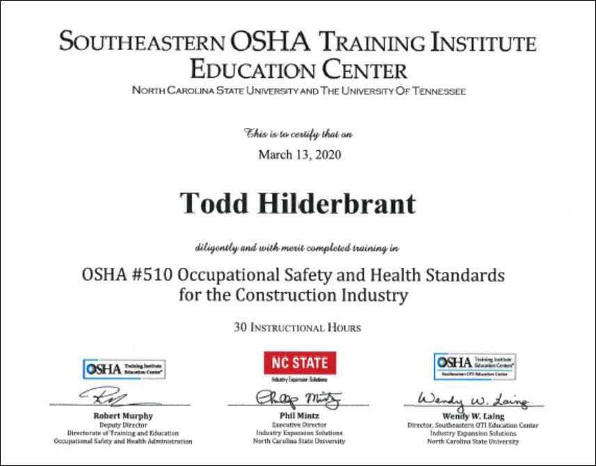 image of sample training certificate for OSHA 510 course