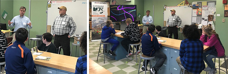 Corning employees Paul and Wynn talk to local students.