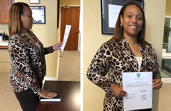images of LeChase's Denise Barnes being sworn in as a member of the Durham County Hospital board