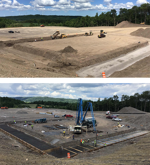 Photos showing progress on Madison County salt storage building from June to mid-July.