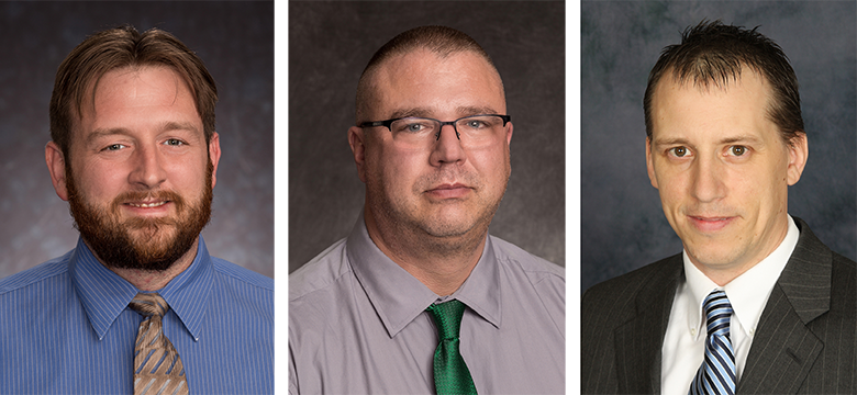 LeChase IT department professionals who have been promoted: Jon Bolland, Scott Butterfield and Steve Hinkley
