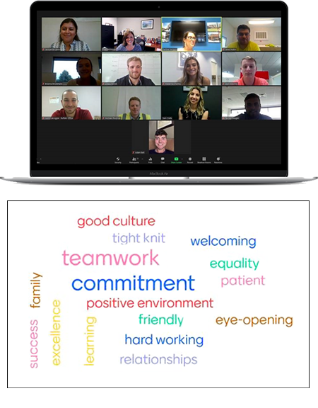 Screenshot of virtual sendoff for LeChase student interns, and the word cloud depicting their experiences.