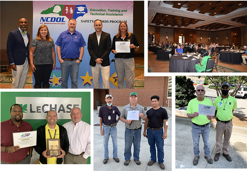 Some LeChase team members with their safety awards